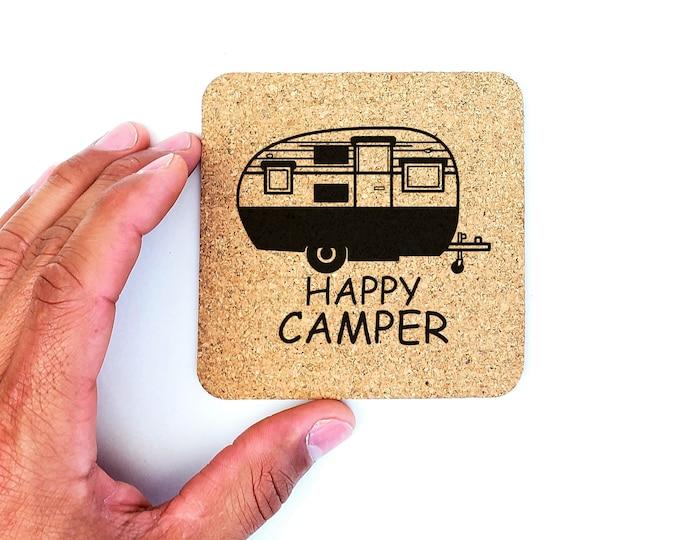 Travel Camping Happy Camper Cork Coasters