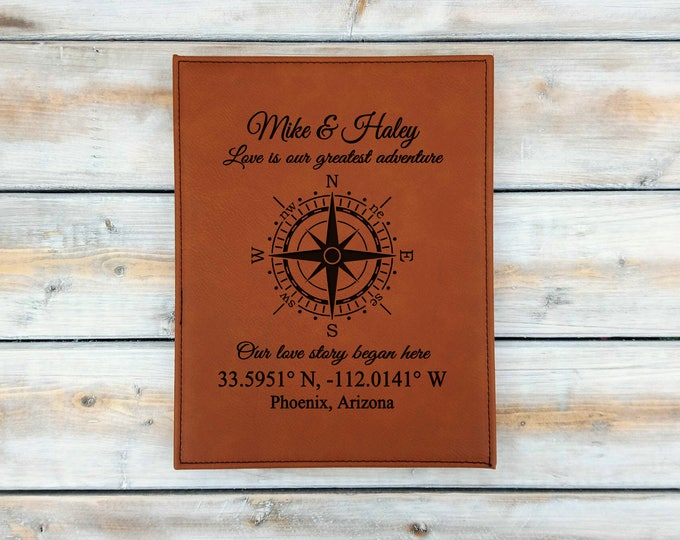 Personalized Leather Coordinates Plaque | Latitude Longitude | Address Sign | Custom Coordinates | Wedding | Anniversary Gift | Housewarming