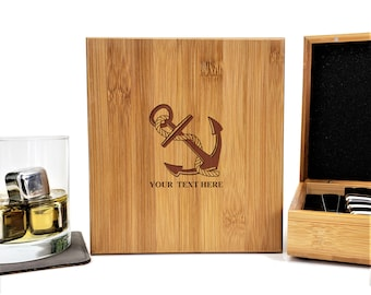 Personalized Whiskey Stones Bamboo Case | Gift Set | Anchor | Nautical Gift | Stainless Steel | Fathers Day Gift | Set of 9