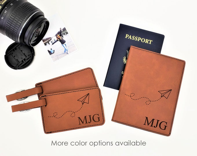 Personalized Passpost Holder Cover Luggage Tag Paper Plane Travel Gift Set