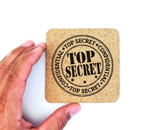 Top Secret Stamp Confidential Humor Cork Coasters