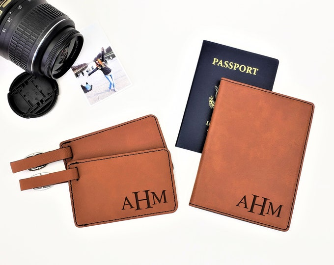 Personalized Passpost Holder Cover With Initials Luggage Tag Travel Couples Gift Set