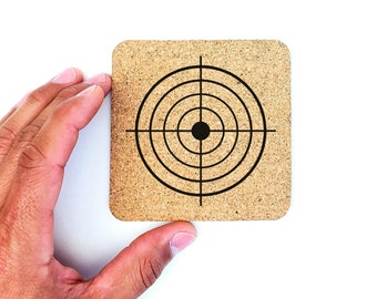 Police Military Officer Practice Shooting Target Cork Coasters