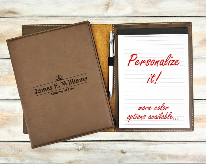Personalized Leatherette Notepad | Portfolio | Monogrammed | Laser Engraved | Personalized Gift | Scale of Justice | Lawyer Gift | Attorney