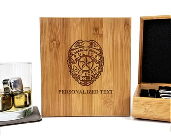 Police Officer Badge Military Personalized Bamboo Case Stainless Steel Whiskey Stones Gift Set
