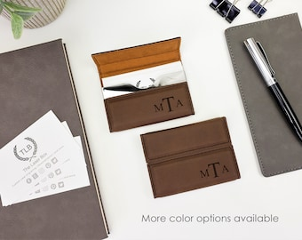 Personalized Custom laser Engraved Monogrammed Business Card Holder