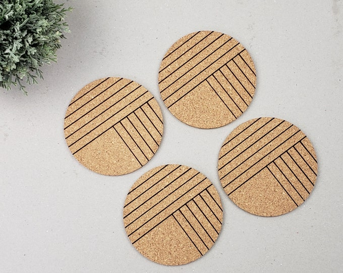 Round Geometric Coasters | Modern Coasters | Housewarming Gift | Newlywed | Lined Coasters | Wine Drinking Coasters