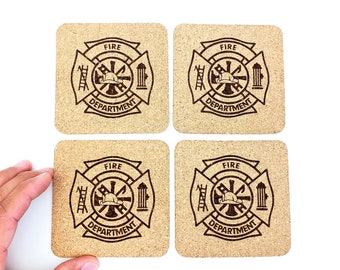 Firefighter Cork Coasters | Fire Department | Fireman | Fire and Rescue | Set of 4 | FREE SHIPPING