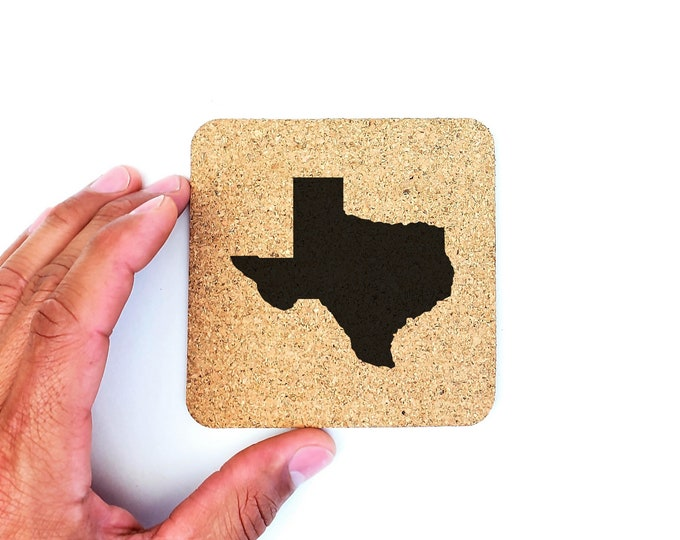 Texas State Silhouette Map Cork Drink Coasters