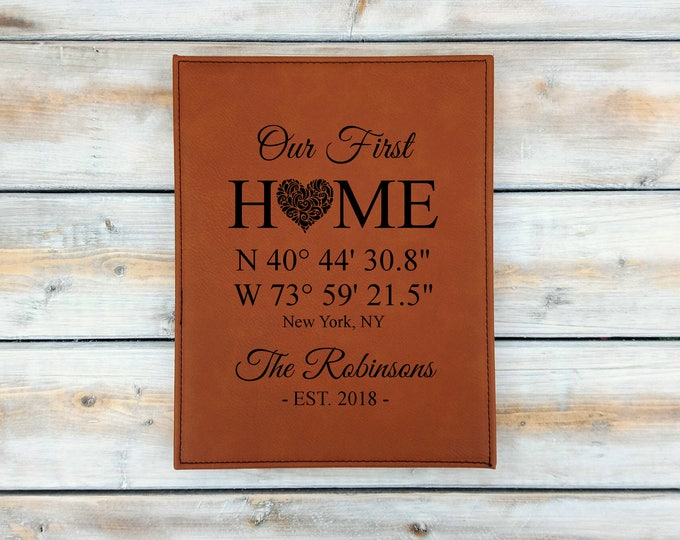 Personalized Leather Coordinates Plaque | Our First Home | Address Sign | Heart | Coordinates | Wedding | Anniversary Gift | Housewarming