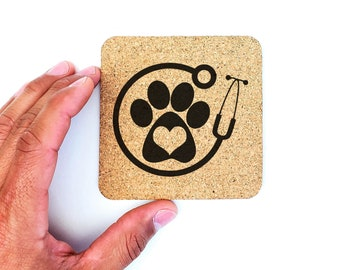 Veterinary Physician Stethoscope Dog Paw Heart Cork Coasters