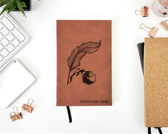 Personalized Feather Ink Pen Writer Journal Name Initials Monogrammed Gift Notebook Travel Book