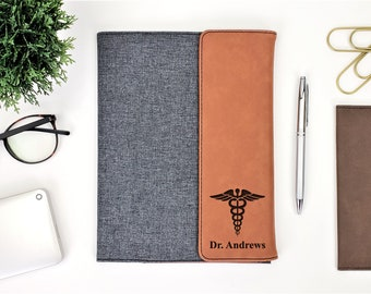 Personalized Doctor of Medicine Symbol Business Portfolio Notepad | Personalized Gift | Doctor | Physician