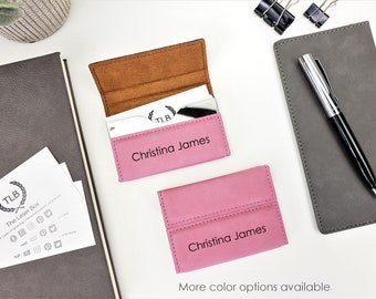 Pink Personalized Custom laser Engraved Monogrammed  Full Name Business Card Holder