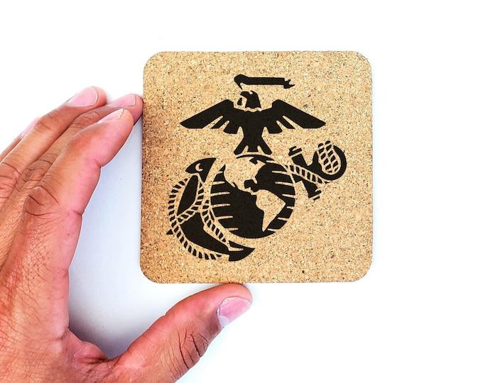 USMC Marine Corps Cork Coasters