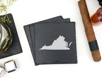 Virginia Slate Coasters | Virginia | State Outline Map | Slate Coasters | Drink Local | State Coasters