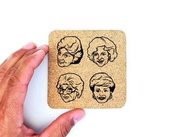 Golden Girls Cork Coasters | Golden Girls | Dorothy | Blanche | Sophia | Rose | Cork Coasters