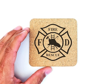 Fire and Rescue Fire Department Fireman Gift Cork Coasters