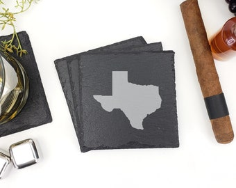 Texas State Outline Map Slate Coasters Laser Engraved