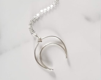 Moon Ring Holder Necklace, Sterling Silver Engagement Ring Holder, Valentine's Day Gift For Her, Newlyweds, Moon Lovers, Half Moon Jewelry