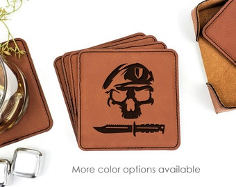 Army Military Ranger Beret Knife Leatherette Coasters Set Of 6 With Caddy