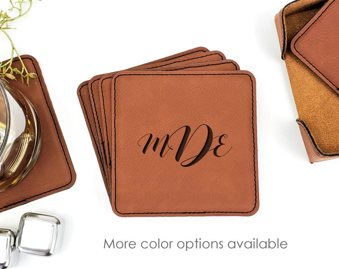 Personalized Monogrammed Initials Leatherette Coasters Set Of 6 With Caddy
