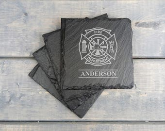 Personalized Slate Coasters | Fire Department | Laser Engraved | Slate Coasters | Firefighter | Coasters | Set of 4 | FREE SHIPPING