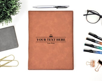 Personalized Law Firm Business Portfolio Notepad | Monogrammed | Legal | Personalized Gift | Scale of Justice | Lawyer Gift | Attorney