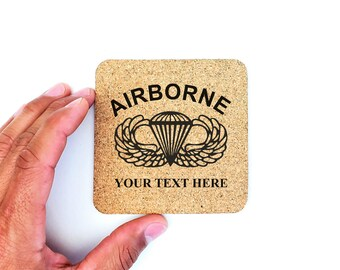 Personalized Drink Cork Coasters US Army Airborne Wings Paratrooper
