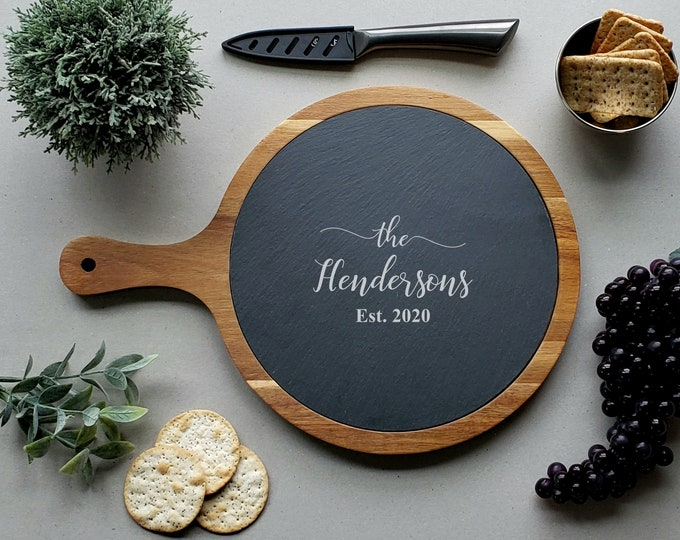 Personalized Charcuterie Board, Custom Round Cheese Board, Slate Paddle Board, Acacia Cutting Board, Anniversary Gift, Serving Board