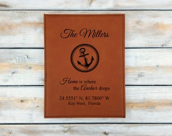 Personalized Leather Coordinates Plaque | Home is where the anchor drops | Address Sign | Wedding | Anniversary Gift | Housewarming