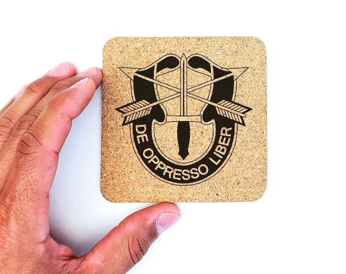 Army Special Forces Green Beret Cork Coasters
