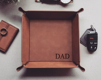 Dad Vegan Leather Tray, Personalized Catch All Tray, Valet Tray For Men, EDC Dump Tray, Valet Storage, Coin Tray, Father's Day Gift