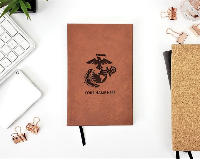 Personalized Journal USMC Marines Military Notes Graduation Gift
