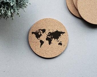 World Map Coasters, Travel Coasters, Wanderlust Coasters, Drink Coasters, Coaster Set, Coaster Git, Gift Set