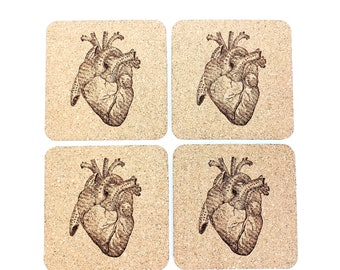 Human Anatomy Cork Coasters | Anatomical Heart | Medical Gift | Doctor | Physician | Set of 4 | FREE SHIPPING