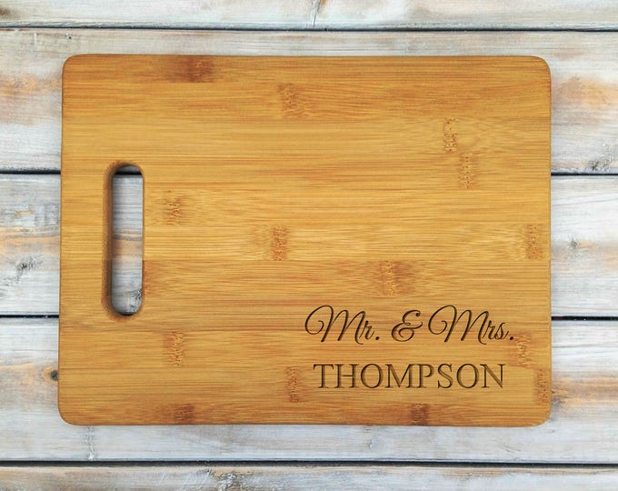 Personalized Cutting Board | Bamboo Cutting Board | Laser Engraved | Housewarming Gift | Mr and Mrs | Mothers Day Gift | Father Gift
