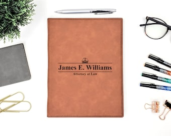 Personalized Attorney at Law Business Portfolio Notepad, Personalized Gift, Law School Graduation Gift