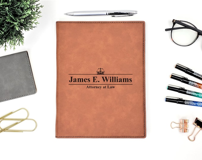 Personalized Scale of Justice Attorney at Law Business Portfolio Notepad | Personalized Gift | Law School Graduation Gift