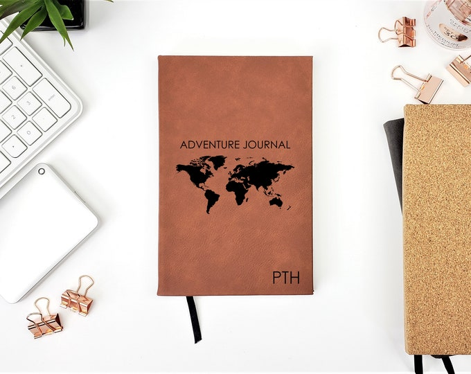 Personalized Travel Adventure Journal Monogrammed Initials Gift Notebook