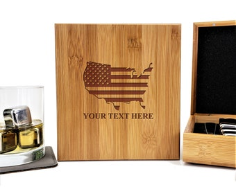 Personalized Whiskey Stones Bamboo Case | US Map Gift Set | Patriotic Gift | Stainless Steel | Fathers Day Gift | Set of 9