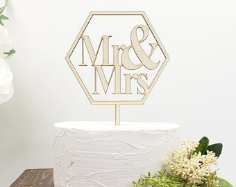 Wooden Cake Topper | Mr and Mrs | Hexagon | Geometric | Rustic Wedding | Graduation | Birthday | Engagement | Anniversary | Party