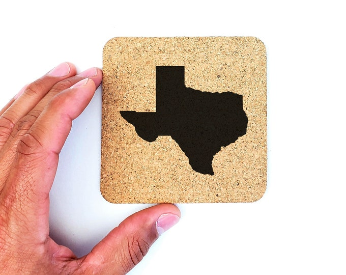 Texas State Silhouette Outline Country Cork Coasters