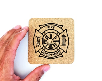 Firefighter Cork Coasters | Fire Department | Fireman | Fire and Rescue | Cork Coasters