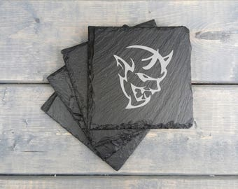 SRT Demon Slate Coasters | Srt Demon | Laser Engraved | Slate Coasters | Demon | Srt | Coasters | Set of 4 | FREE SHIPPING