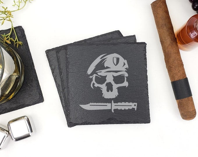 USA Army Ranger Skull Knife Special Forces Slate Coasters Laser Engraved