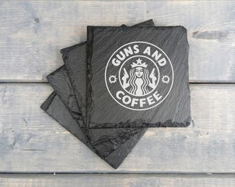Guns and Coffee Slate Coasters | Guns and Coffee | Laser Engraved | Starbucks | Guns | Coffee | Pistol | Coasters | Set of 4 | FREE SHIPPING