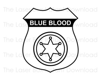 Police Officer Badge Blue Blood Vector Svg, Eps, Png, Jpg and Pdf Instant Download