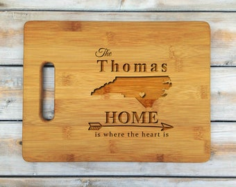 Personalized Cutting Board | Bamboo Cutting Board | Laser Engraved | Housewarming Gift | Home is where the heart is | Mothers Day Gift