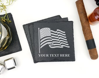 American Flag Coasters | US Flag | American Flag | Slate Coasters | Patriotic | 4th of July | Personalized Coasters